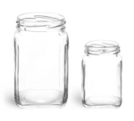 9.8 oz Clear Glass Square Jars