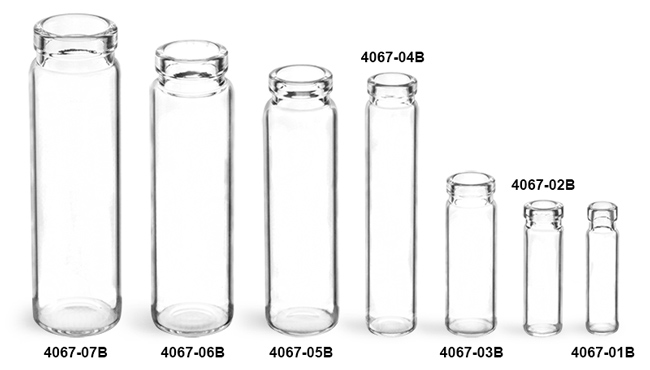 Glass Vials, Clear Glass Lip Vials (Bulk), Caps NOT Included