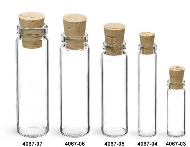 Glass Vials, Clear Glass Lip Vials w/ Cork Stoppers