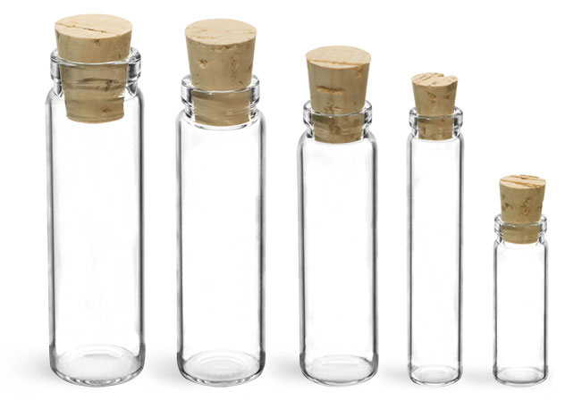 GLass Vials, Clear Lip Glass Vials w/ Cork Stoppers