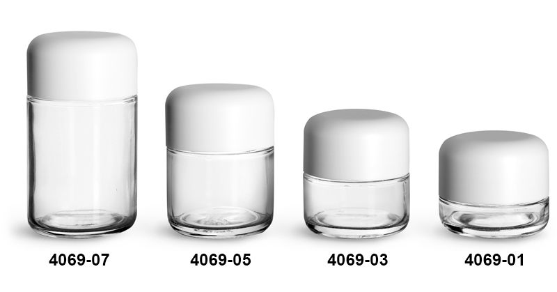 Glass Jars, Clear Glass Child Resistant Wide Mouth Jars w/ Smooth White Child Resistant Dome Caps