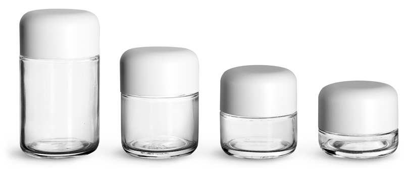 Clear Glass Child Resistant Wide Mouth Jars w/ Smooth White Child Resistant Dome Caps