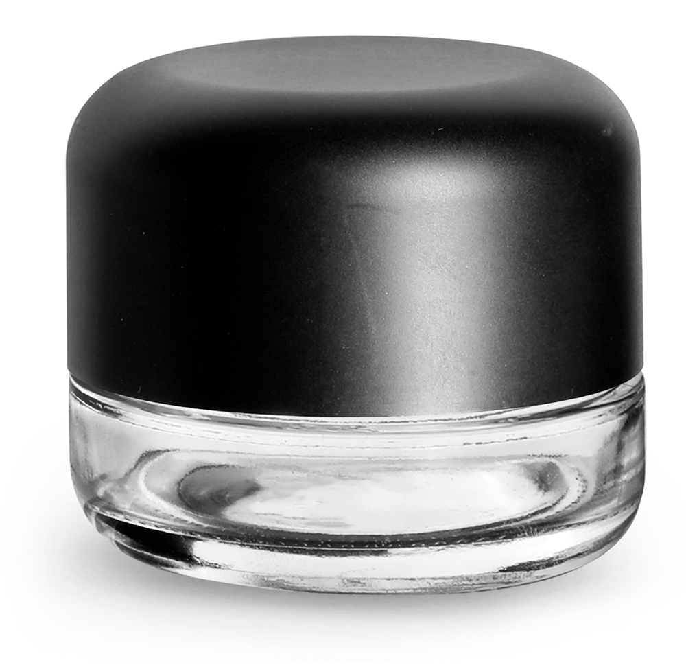 60 ml Clear Glass Child Resistant Wide Mouth Jars w/ Smooth Black Child Resistant Dome Caps
