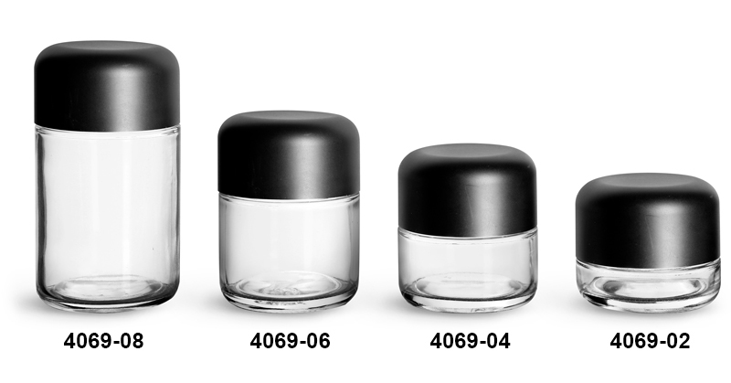 Glass Jars, Clear Glass Child Resistant Wide Mouth Jars w/ Smooth Black Child Resistant Dome Caps