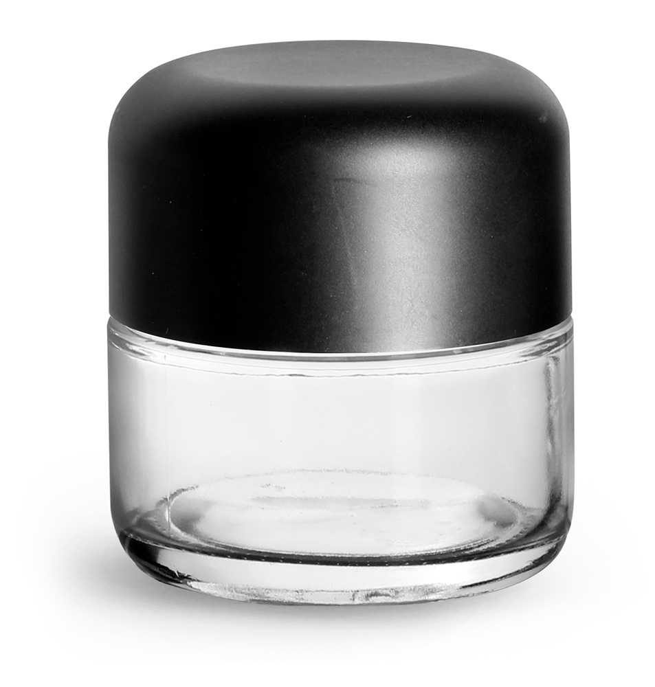 90 ml Clear Glass Child Resistant Wide Mouth Jars w/ Smooth Black Child Resistant Dome Caps