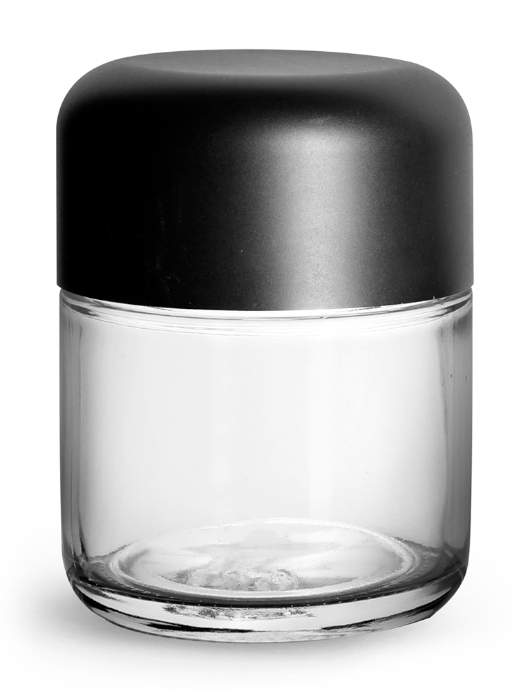 Clear Glass Child Resistant Wide Mouth Jars w/ Smooth Black Child Resistant Dome Caps