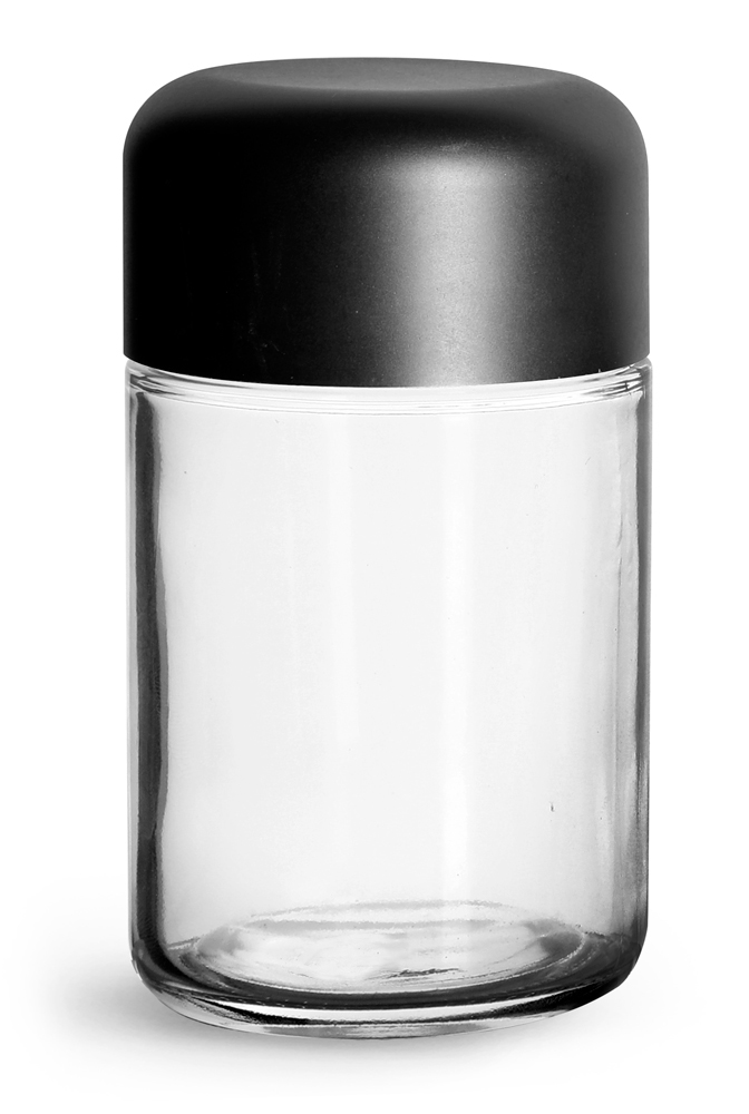 180 ml Clear Glass Child Resistant Wide Mouth Jars w/ Smooth Black Child Resistant Dome Caps