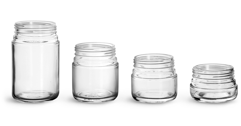 Glass Jars, Clear Glass Child Resistant Wide Mouth Jars (Bulk), Caps Not Included