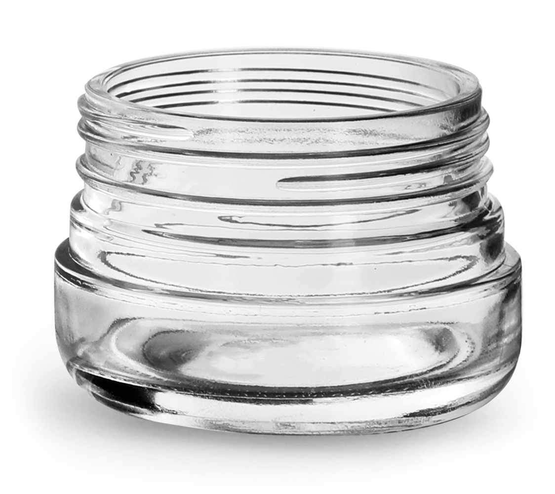 60 ml Glass Jars, Clear Glass Child Resistant Wide Mouth Jars (Bulk), Caps Not Included