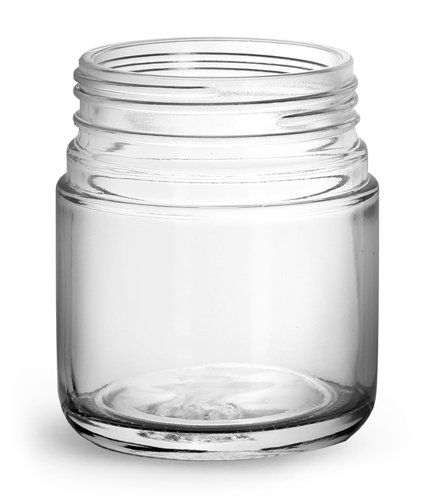 120 ml Glass Jars, Clear Glass Child Resistant Wide Mouth Jars (Bulk), Caps Not Included