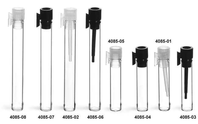 Glass Vials, Clear Glass Perfume Sampler Vials w/ PE Stoppers