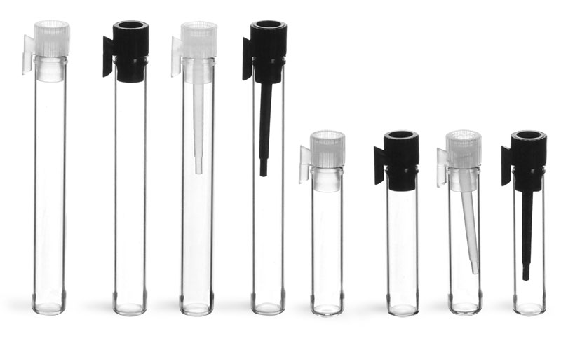 Clear Glass Perfume Sampler Vials w/ PE Stoppers'