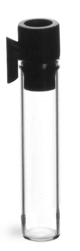 Clear Glass Perfume Sampler Vials w/ Black PE Stopper NO Applicator