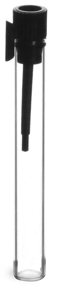 Clear Glass Perfume Sampler Vials w/ Black PE Stopper Applicator, 12/Bag