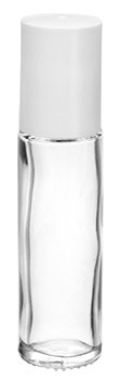 .35 oz White Clear Glass Roll On Containers w/ PE Ball and White Caps