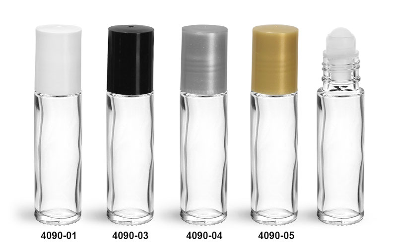 Glass Bottles, Clear Glass Roll On Bottles w/ PE Balls and Polypropylene Caps