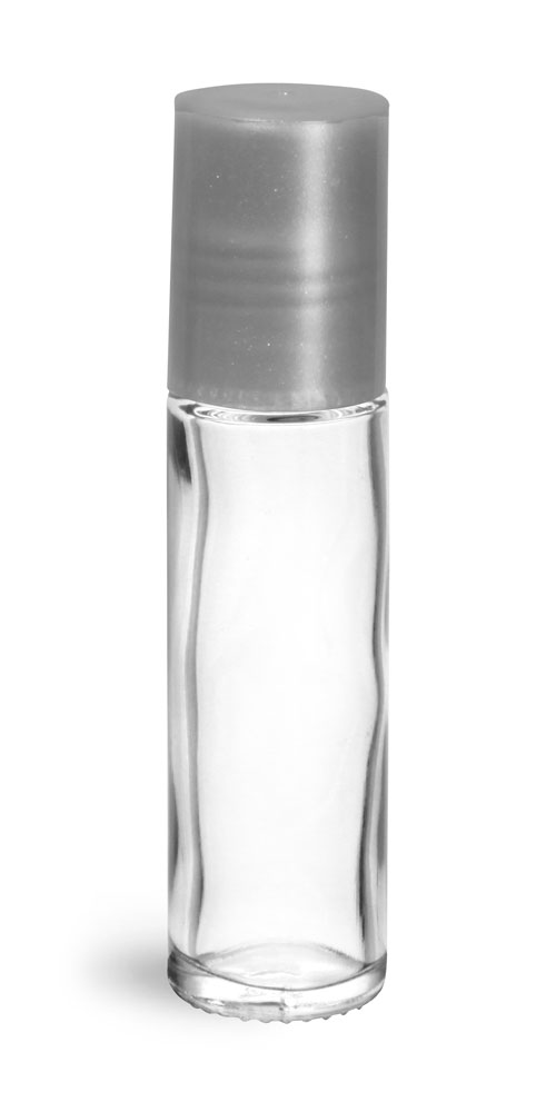 .35 oz Silver Clear Glass Roll On Containers w/ PE Ball and Silver Caps
