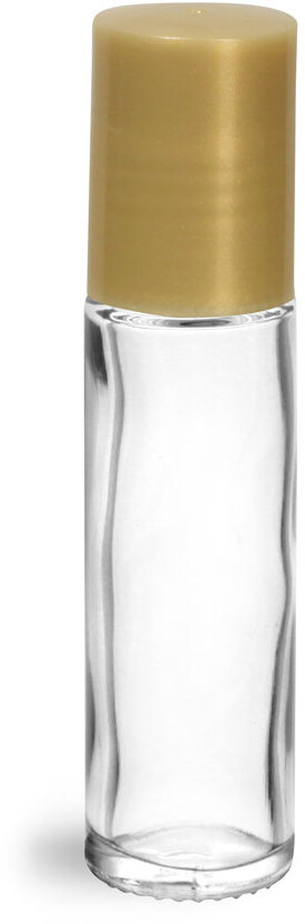 Clear Glass Roll On Containers w/ PE Ball and Gold Caps (Bulk)