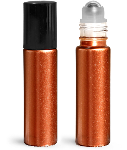 Glass Bottles, 0.35 oz Bronze Glass Roll On Containers w/ Metal Balls and Black Polypropylene Caps