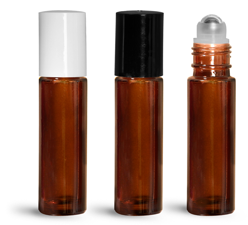 Amber Glass Bottles, 0.35 oz Glass Roll On Containers w/ Metal Balls and Polypropylene Caps