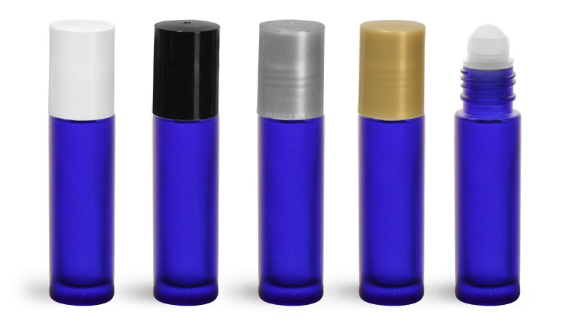 Glass Bottles, Blue Frosted Glass Roll On Containers w/ Ball and Caps