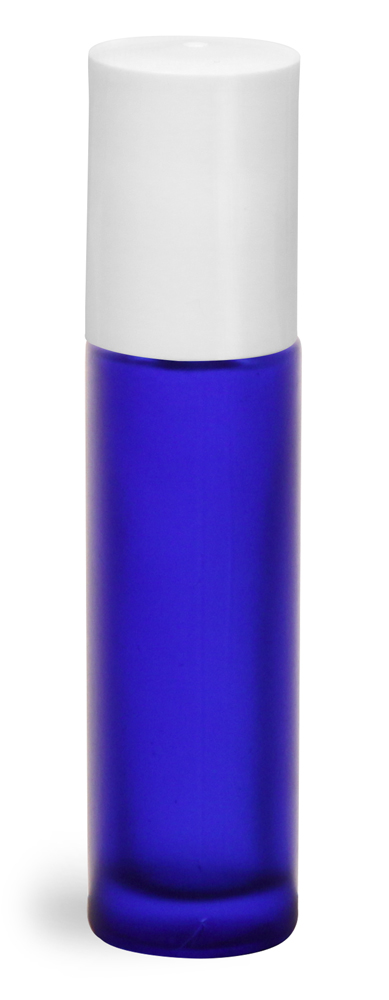 .35 oz Blue Frosted Glass Roll On Containers w/ PE Balls and White Caps (Bulk)