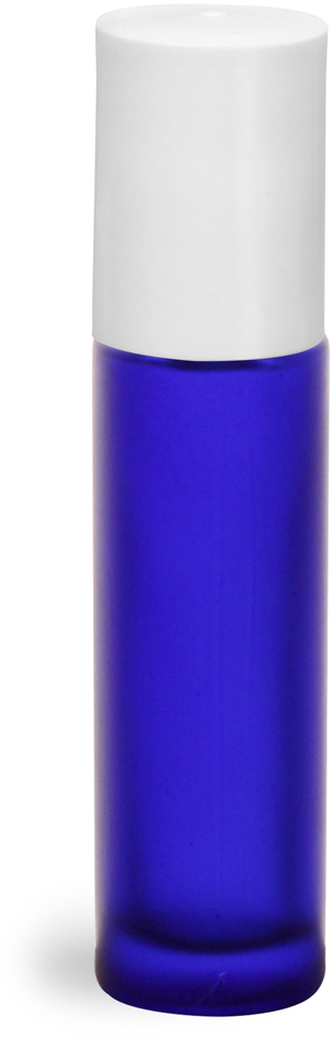 Blue Frosted Glass Roll On Containers w/ PE Balls and White Caps (Bulk)