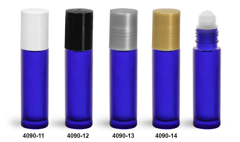 Glass Bottles, Blue Frosted Glass Roll On Containers w/ PE Balls and Polypropylene Caps