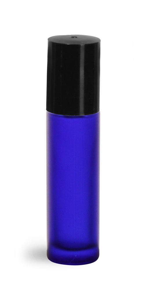 .35 oz Blue Frosted Glass Roll On Containers w/ PE Balls and Black Caps (Bulk)