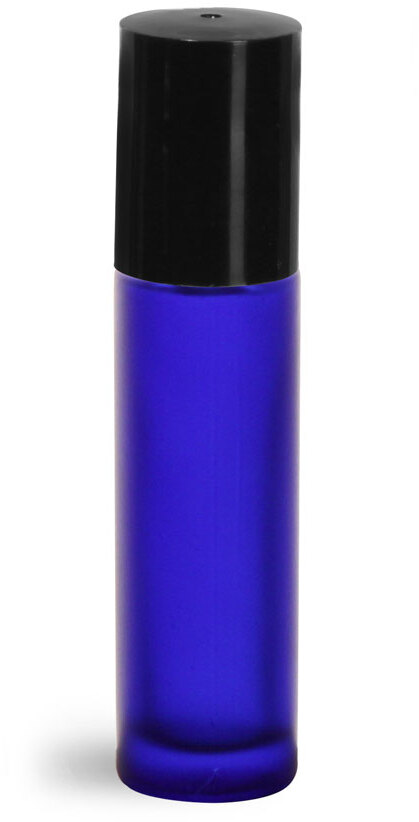Blue Frosted Glass Roll On Containers w/ PE Balls and Black Caps (Bulk)
