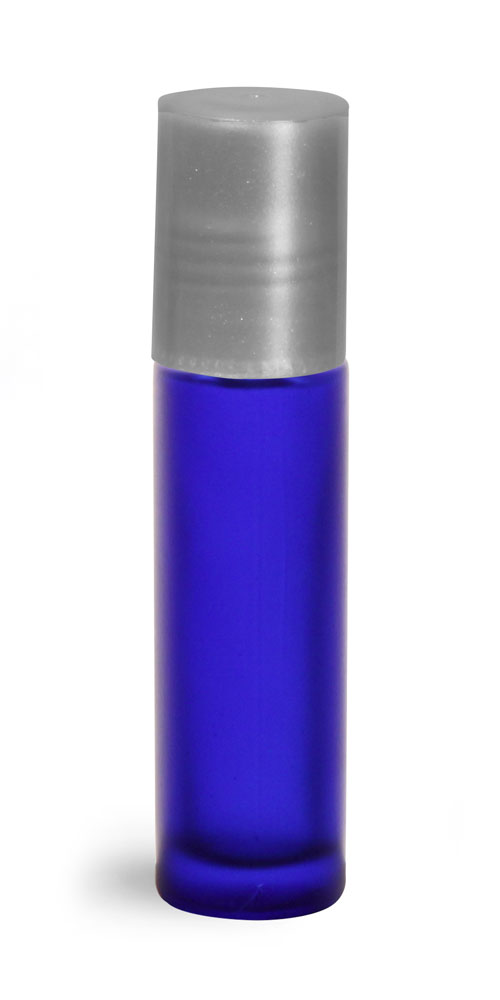 .35 oz Blue Frosted Glass Roll On Containers w/ PE Balls and Silver Caps