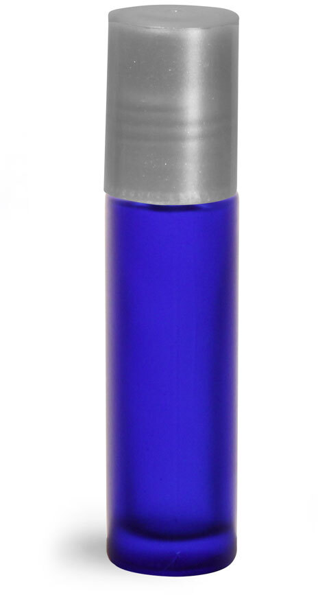 Blue Frosted Glass Roll On Containers w/ PE Balls and Silver Caps