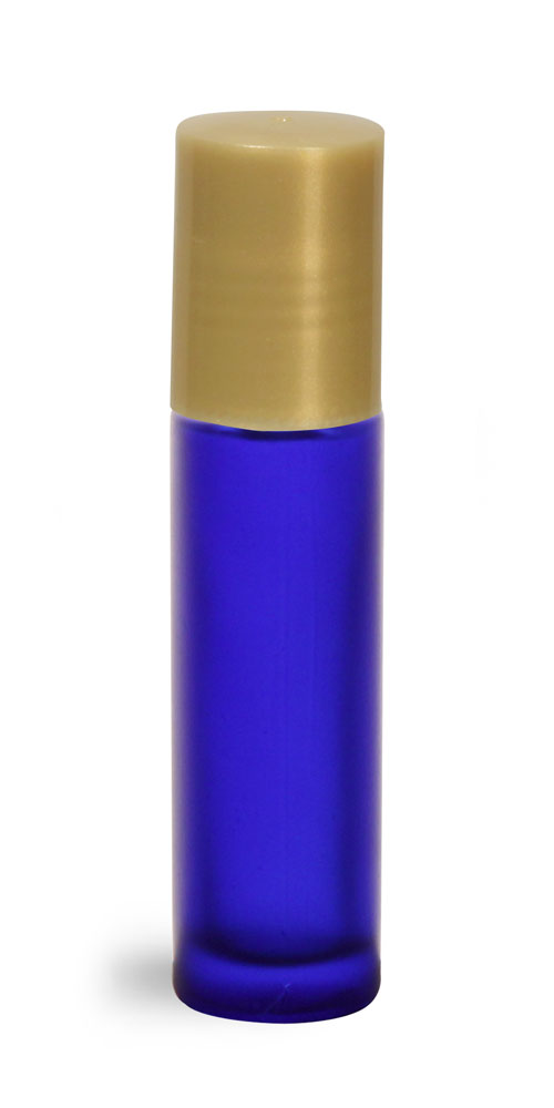 .35 oz Blue Frosted Glass Roll On Containers w/ PE Balls and Gold Caps