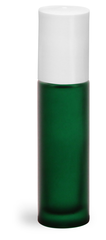 .35 oz w/ White Green Frosted Glass Roll On Containers w/ PE Balls and White Caps (Bulk)