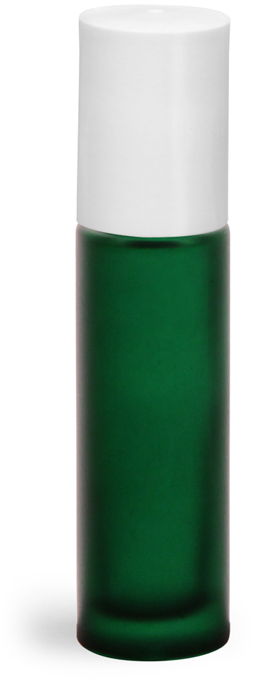 Green Frosted Glass Roll On Containers w/ PE Balls and White Caps (Bulk)
