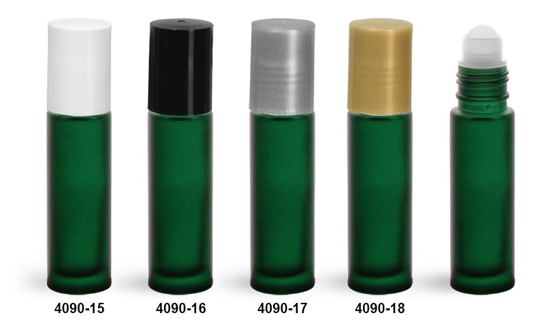 Glass Bottles, Green Frosted Glass Roll On Containers w/ Ball and Caps