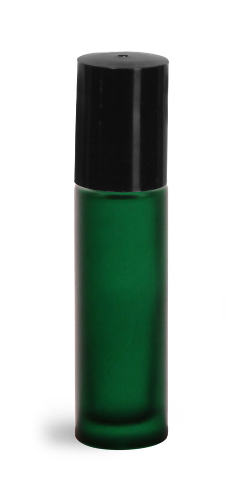 .35 oz w/ Black Green Frosted Glass Roll On Containers w/ PE Balls and Black Caps
