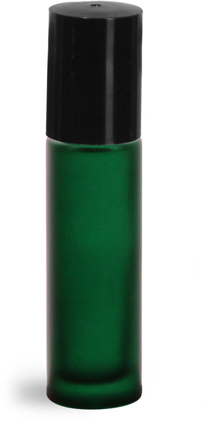 Green Frosted Glass Roll On Containers w/ PE Balls and Black Caps (Bulk)