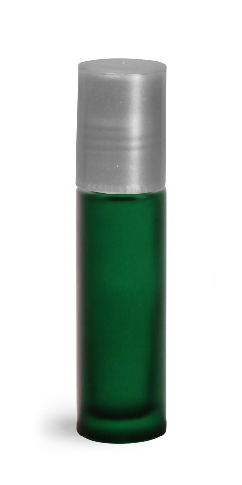.35 oz w/ Silver Green Frosted Glass Roll On Containers w/ PE Balls and Silver Caps