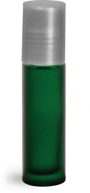 Green Frosted Glass Roll On Containers w/ PE Balls and Silver Caps