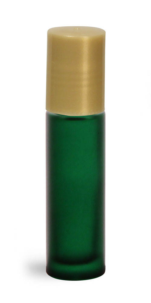 .35 oz w/ Gold Green Frosted Glass Roll On Containers w/ PE Balls and Gold Caps