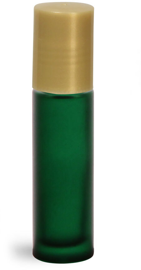 Green Frosted Glass Roll On Containers w/ PE Balls and Gold Caps (Bulk)