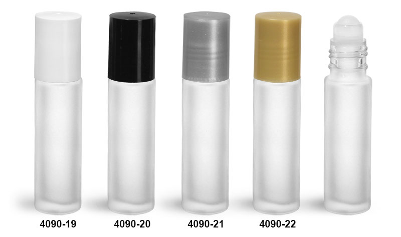 Glass Bottles, Frosted Glass Roll On Containers w/ PE Balls and Polypropylene Caps