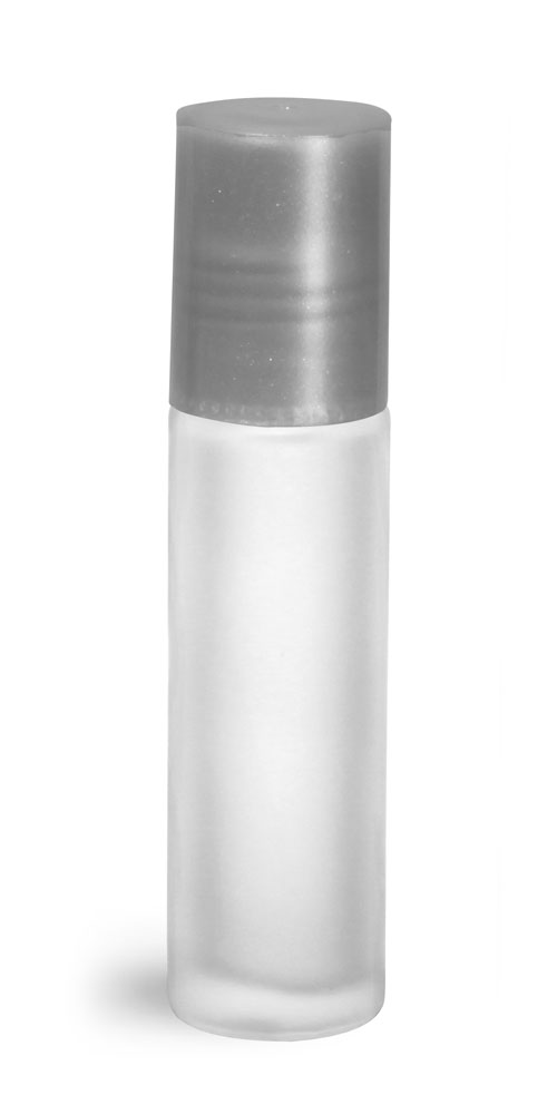 .35 oz Silver Frosted Glass Roll On Containers w/ Ball and Silver Caps