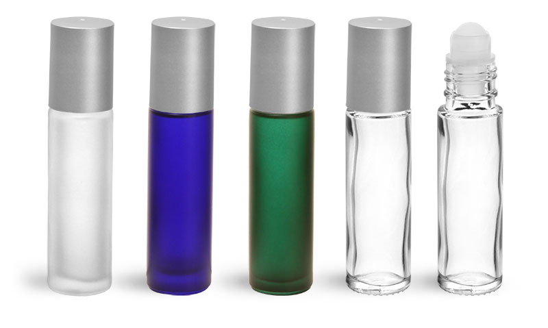 Glass Bottles, Glass Roll On Containers w/ Balls and Brushed Silver Polypropylene Caps