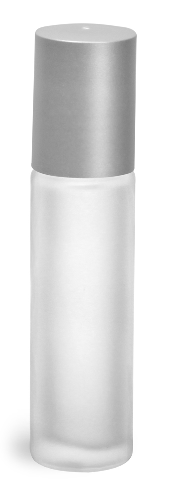 .35 oz Frosted Clear Natural Frosted Glass Roll On Containers w/ Ball and Brushed Silver Polypro Caps