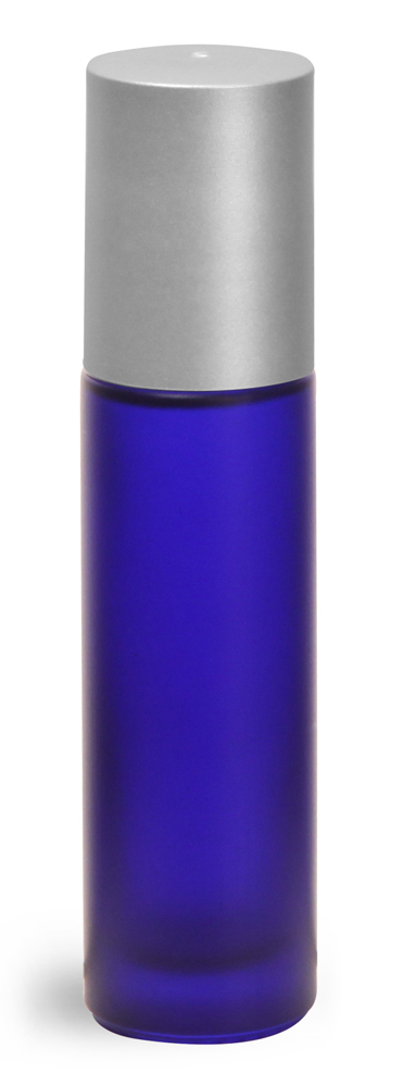.35 oz Frosted Blue Glass Roll On Containers w/ Ball and Brushed Silver Polypro Caps