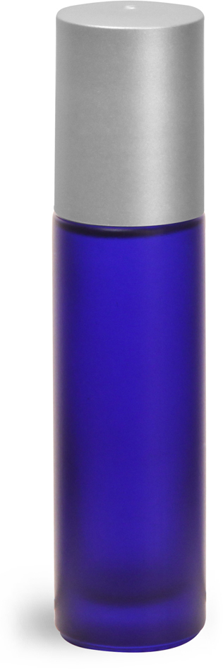 Frosted Blue Glass Roll On Containers w/ PE Balls and Brushed Silver Polypro Caps