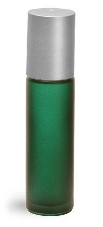 .35 oz Frosted Green Green Frosted Glass Roll On Containers w/ Ball and Brushed Silver Polypro Caps