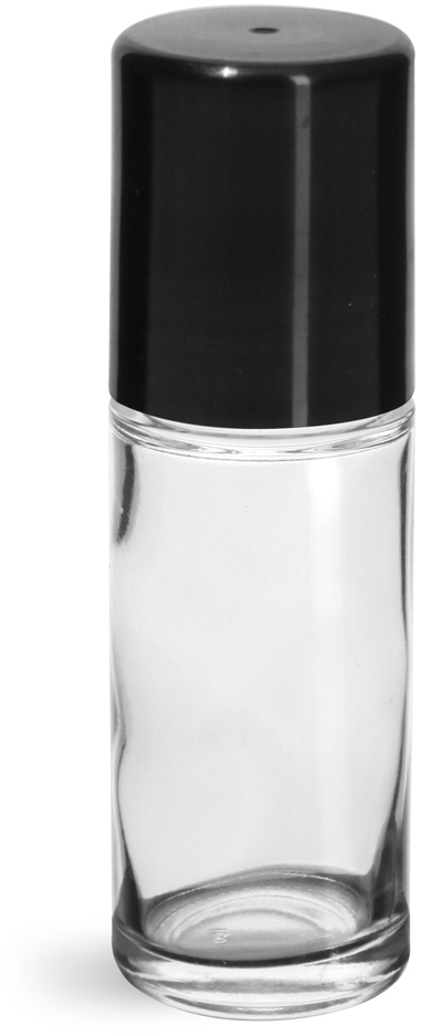Glass Bottles, Clear Glass Roll On Containers w/ Ball and Caps